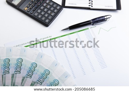 business still-life with banknotes