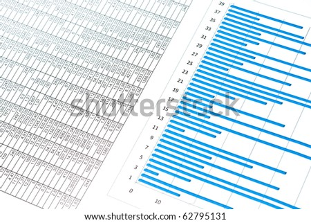 Business still-life with blue chart and numbers - stock photo