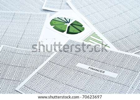 Business still-life with diagram, chart and numbers - stock photo