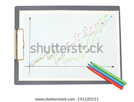 Business still-life with diagrams, charts and numbers. - stock photo