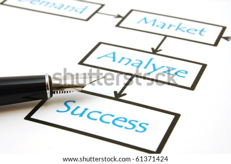 business still life with market analyse diagram in office - stock photo