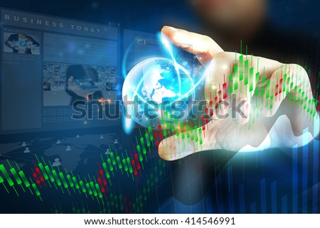 Business stock chart analysis. Trading graph, Financial concept - stock photo