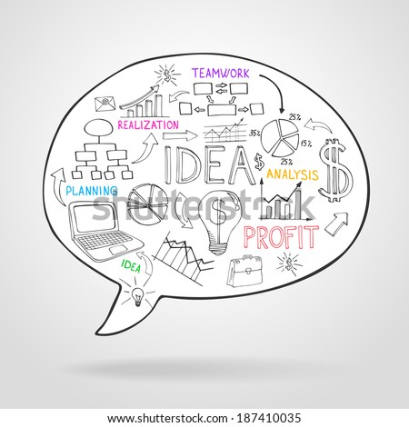 Business strategy and planning in a speech bubble with icons depicting ...