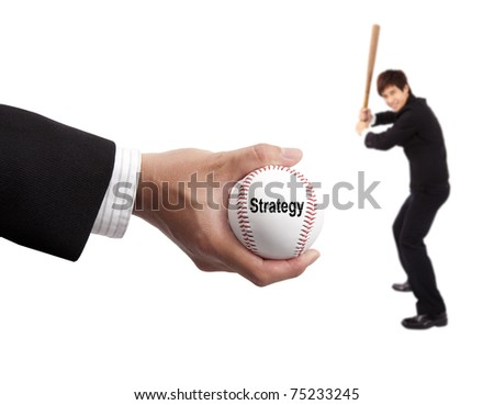 Business strategy concept. hand of businessman holding baseball and striker - stock photo