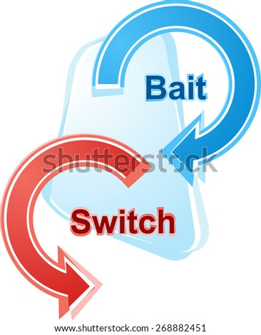 business strategy concept infographic diagram illustration of bait and switch - stock photo