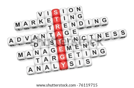 Business strategy crossword on white background - stock photo