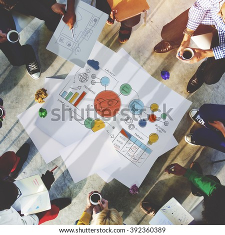 Business Strategy Design Plan Drawing Concept - stock photo