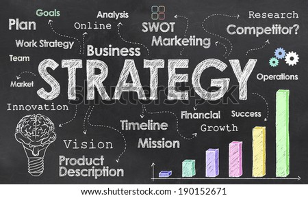 Business Strategy Illustration with Chalk on Blackboard  - stock photo