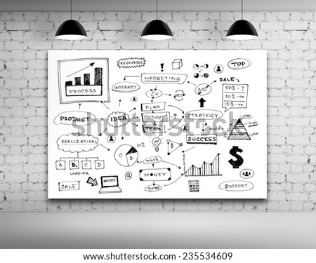 business strategy on board in brick room - stock photo