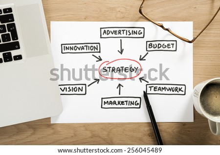 business strategy plan diagram on the office desk - stock photo