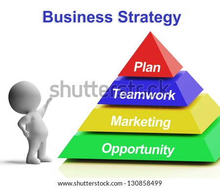 Business Strategy Pyramid Showing Teamwork Marketing And Plan