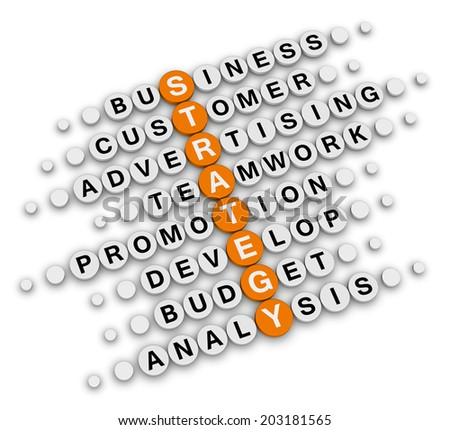 business strategy sitting  (orange-white crossword series) - stock photo