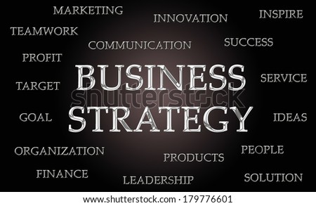 Business strategy word cloud written in luxurious chrome letters