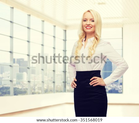 business, style and people concept - smiling businesswoman over office room with city view window background - stock photo