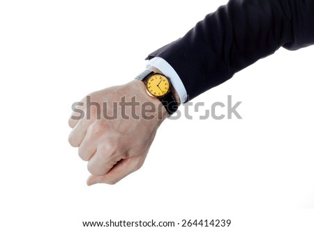 Business style hand with watches. Isolated on white. - stock photo
