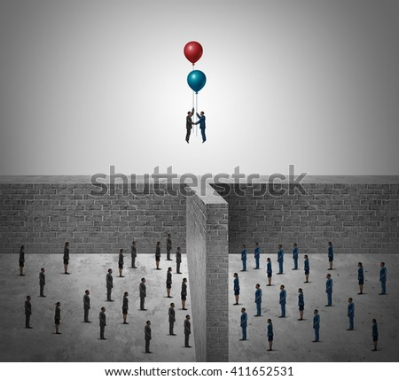 Business success agreement concept as two groups of people divided by a wall with business leaders using balloons to rise above the obstacle as a success metaphor in a 3D illustration style.