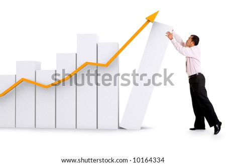 business success and growth concept - isolated over a white background