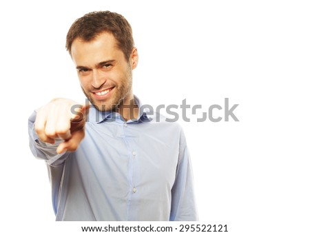 business, success and people concept - Business man showing finger to be number one - stock photo