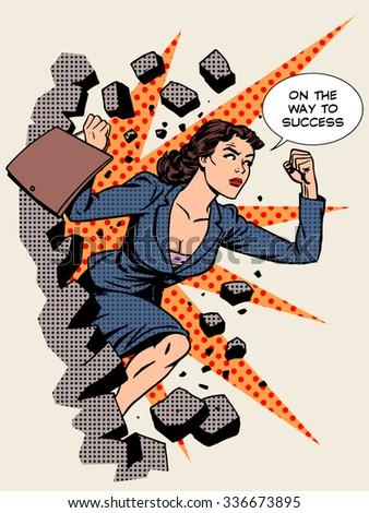 Business success businesswoman breaks the wall. Retro style pop art - stock photo