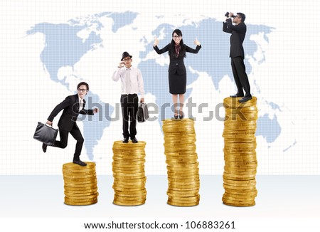 Business success concept: Businessmen and businesswoman standing on stacks of golden coins - stock photo