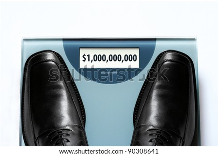 """Business success concept - wealthy """"heavyweight"""" businessman possessing high-value business - stock photo"""