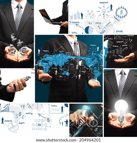 Business success concept, With creative drawing chart and graphs business success strategy plan idea, Global business concept modern design template workflow layout, diagram, step up options - stock photo