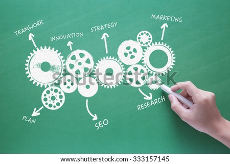business success concept with hand drawing business gear - stock photo