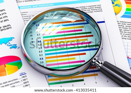Business success, document paperwork, office financial growth and development concept: 3D render illustration of magnifying glass or magnifier loupe on financial reports with color graphs and charts - stock photo