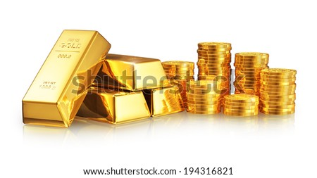 Business success, finance, wealth, banking and stock exchange market investment concept: group of gold ingots or bullions and stacks of golden coins isolated on white background with reflection effect - stock photo