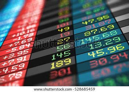 Business success, financial development, trading commercial success and corporate management growth concept: 3d render of color stock exchange market trade big data arranged in table chart screen