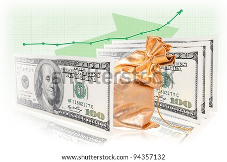 Business success formula: money - commodity - money with graph increment. - stock photo