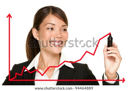 Business success growth chart. Business woman drawing graph showing profit growth on virtual screen. Asian businesswoman isolated on white background in suit. - stock photo