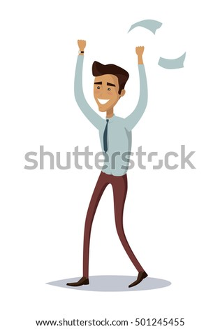 Business success illustration. Flat style design . Great deal, good day concept. Happy man with raised hands enjoying his success. Getting result. Isolated on white background.