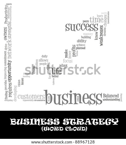 Business success info-text (cloud word) composed in the shape of graph going up on white background - stock photo