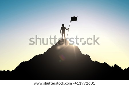 business, success, leadership, achievement and people concept - silhouette of businessman with flag on mountain top over sky and sun light background - stock photo