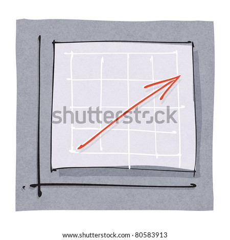 business success simple graphic chart with red rising arrow  (raster version) - stock photo