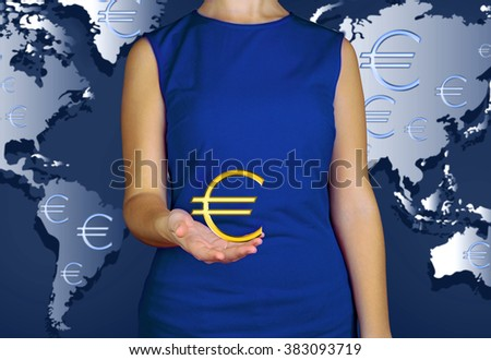 Business success strategy concept. Female hands showing currency on world map background - stock photo