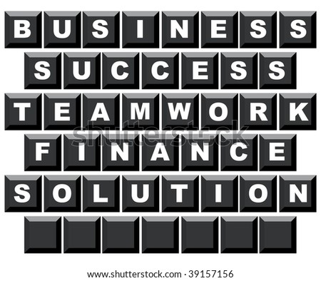 Business, success, teamwork, finance and solution spelled on computer keyboard with copy space, isolated on white background. - stock photo