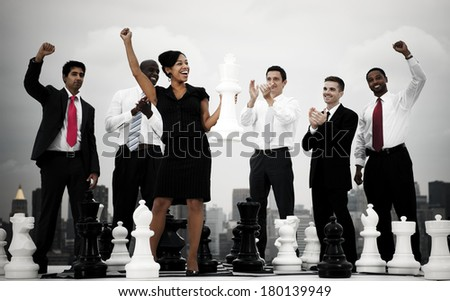 Business Success with Chess in New York - stock photo