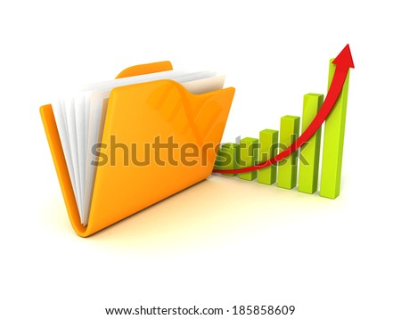 business successful finance chart with growing arrow and document folder. concept success 3d render illustration - stock photo