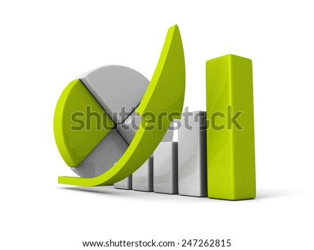 business successful financial bar growth graph with rising arrow. 3d render illustration - stock photo