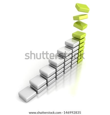 business successful financial green blocks bar graph - stock photo