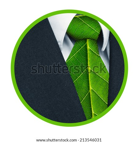 Business suit and green leaves as tie representing a natural job in the shape of a badge. - stock photo