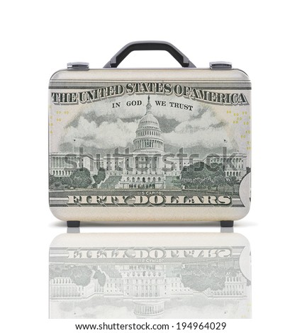 Business suitcase for travel with reflection and 50 dollars note - recto - clipping path - stock photo