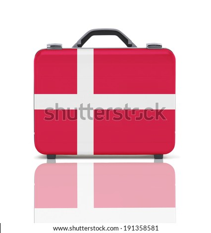 Business suitcase for travel with reflection and flag of Denmark - clipping path - stock photo