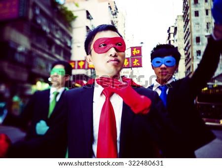 Business Superheroes in Hongkong Concept - stock photo