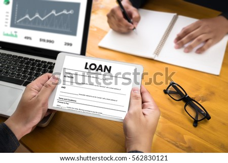 Business Support Commercial Loan Document Agreement Stock Photo