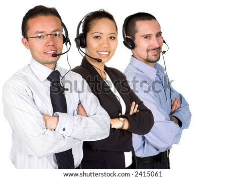 business support team over a white background - stock photo