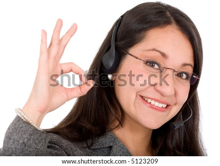 business support woman - ok sign over a white background - stock photo
