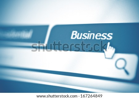 Business tab on website. Closeup of computer screen. - stock photo